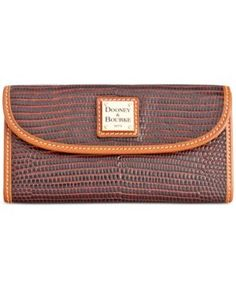 Dooney & Bourke Lizard-Embossed Continental Clutch Wallet, A Macy's Exclusive Style  - Brown