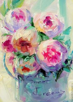 Bright Paintings, Paintings I Love, Beautiful Paintings, Original Paintings, Fruit Painting, Oil Painting Flowers, Abstract Flowers, Speed Art, Still Life Oil Painting