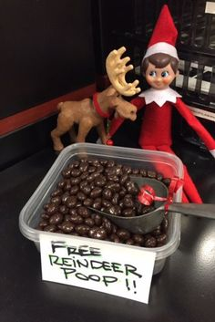 Elf on the shelf Pooping Reindeers - These Holiday Decorations Have Got To Go - Lonny Christmas Elf, All Things Christmas, Naughty Christmas, Elf Christmas Decorations, School Decorations, Reindeer Poop, Awesome Elf On The Shelf Ideas, Elf Magic, Elf On The Self