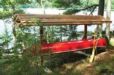 Build kayak storage rack building an outdoor boat rack for Boat storage shed plans