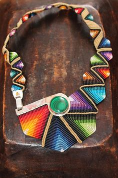 Cavandoli macrame STATEMENT necklace RAINBOW with by ARUMIdesign, really creative!