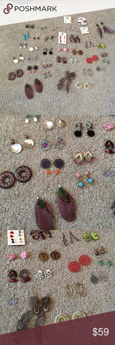 Bundle of earrings- over 30 pairs Bundle of earrings- over 30 pairs- offer- wishing to sell all together- Francesca's collections and forever 21- can put them on paper back to organize when shipping (see 4th pic) Francesca's Collections Jewelry Earrings