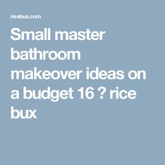 Small master bathroom makeover ideas on a budget 16 ⋆ rice bux Small Bathroom, Master Bathroom, Bathroom Ideas, Apartment Ideas, Budgeting, Rice, Vintage, Small Shower Room, Master Bath