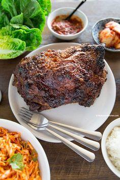 Momofuku Bo Ssam (Korean Roast Pork) - My Korean Kitchen Slow Roasted Pork Shoulder, Pork Shoulder Recipes, Pork Recipes, Asian Recipes, Cooking Recipes, Game Recipes, Asian Foods, Chinese Recipes, Korean Dishes
