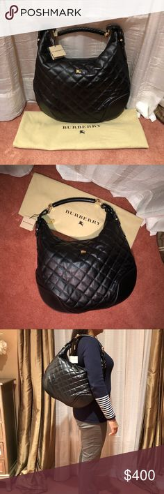 Burberry Hoxton Quilted Hobo Handbag BRAND NEW WITH TAG beautiful Burberry quilted leather hobo bag!!! Comes with dustbag and care of authenticity. Very spacious handbag with 3 interior pockets; one of which is secured with a zipper. Lovely bag for travel due to its side. The purse has beautiful gold hardware and a detailed hand stitched strap. The strap drop is 9 inches. Burberry Bags Hobos