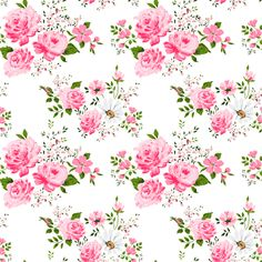 Pink cute roses fabric by ka_lou on Spoonflower - custom fabric