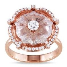 Miadora 14k Pink Gold Rose Quartz And 1/2ct Tdw Diamond Ring (g-h, Si2)
