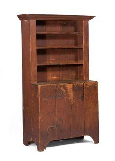 New England Pine Step-Back Cupboard