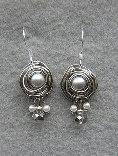 Beautiful Wire Wrap Set Pearl Earrings and Necklace | Tophatter