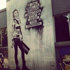 "Street ART ""if you want to achieve greatness, stop asking for permission"" Urban Graffiti, Street Art Graffiti, Outdoor Art, Street Artists, Banksy, Sculpture, Public Art, Urban Art, Cool Art"