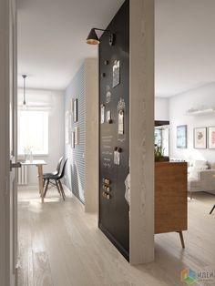 Интерьер в скандинавском стиле, зонирование квартиры