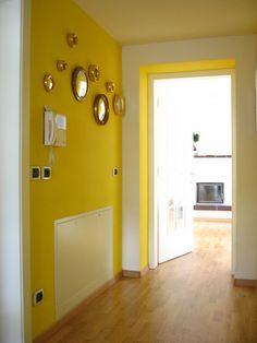 Yellow hallway with sorcier mirrors by Uauage', via Flickr