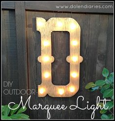 We love our backyard! The evergreens WA is known for make for a beautiful view. As lovely, as the trees are I felt like my view needed a little bling! This DIY Outdoor Marquee Light adds a little something to my backyard day & night! Marquee Letters, Marquee Lights, Wood Letters, Diy Projects To Try, Craft Projects, Craft Ideas, Wood Projects, Diy Ideas, House Projects