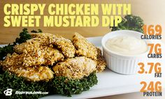 5 Restaurant Meals Renovated For Fitness! Crispy Chicken with Sweet Mustard Dip… Tasty Vegetarian Recipes, Good Healthy Recipes, Clean Recipes, Easy Healthy Recipes, Organic Recipes, Clean Meals, Clean Eating Diet, Healthy Eating, Benefits Of Organic Food