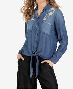 Tribal Knot Front Denim Shirt Denim Button Up, Button Up Shirts, Double Denim Looks, Dark Jeans, Mens Sale, Denim Shirt, Pumps Heels, Knot, Shoe Boots