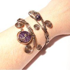 Amethyst Bracelet Amethyst Cuff Bracelet Wrapped Bracelet
