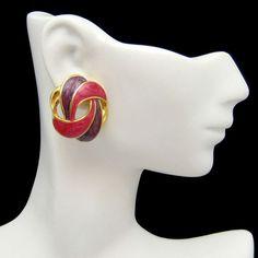 New in the #MyClassicJewelry @Etsy Shop! http://ift.tt/1rEdsaZ Vintage Post Earrings Red Purple Enamel Elegant Ribbon Swirls Gold Plated by MyClassicJewelry #GotVintage