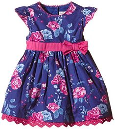 Pumpkin Patch Baby Girls Rose Print Dress Reflex Blue 03 Months >>> Click image to review more details.
