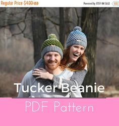 ❘❘❙❙❚❚ ON SALE ❚❚❙❙❘❘     **THIS LISTING IS FOR A DOWNLOADABLE CROCHET PATTERN IN PDF FORMAT, NOT A COMPLETED BEANIE**  My first ever beanie that I created on my own was this Tucker Beanie. Back then I was only a beginner and over the past few months, I've been able to tweak things here and there to create the perfect pattern for any level crocheter to follow along. It's the perfect blend of colors and texture that makes the Tucker Beanie so versatile and unisex. The pattern has both child…