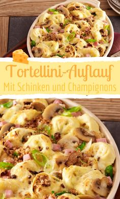 Baked with cheese, the casserole just tastes great - especially this tortellini casserole with ham and mushrooms! Tortellini casserole with ham and mushrooms Bild der Frau bildderfrau Ofenfrische Auflauf-Rezepte Baked with cheese, the casserole jus Salad Recipes For Dinner, Healthy Salad Recipes, Lunch Recipes, Cheese Tasting, Le Diner, Mushroom Recipes, Queso, Stuffed Mushrooms, Easy Meals
