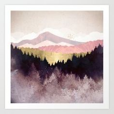 Abstract landscape of a plum colored forest with birds, mountains and gold metal poster Framed Art Prints, Fine Art Prints, Canvas Prints, Tattoos Mandala, Forest Art, Art And Technology, Abstract Landscape, Metal Art, Fine Art Paper