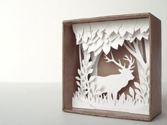 White Forest shadow box papercut silhouette by Papercutout Pop Up, Diy Paper, Paper Art, Paper Crafts, Diy Craft Projects, Diy Crafts, Christmas Shadow Boxes, 3d Laser, 3d Wall Art