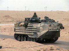 U.S.M.C. AAV on road desert patrol