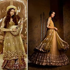 dress in Deewani Mastani Song. The Bajirao Mastani Costume Collection by Anju Modi available Now in Stores! Asian Wedding Dress, Pakistani Bridal Dresses, Pakistani Outfits, Indian Dresses, Indian Outfits, Deewani Mastani Dress, Deepika Padukone, Kathak Costume, Stylish Dresses