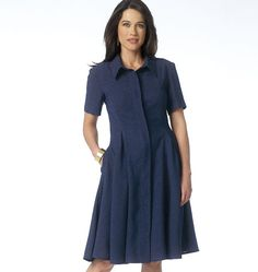 Love this new dress pattern from Butterick! Features placket band and swingy godets. Sew B6155. Sleeveless version too.