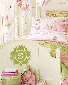 Love the idea of personalizing the kids beds with a decal if they ever were to share a room.