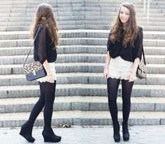 Beige lace shorts (by Gabriela G) http://lookbook.nu/look/3299157-Beige-lace-shorts