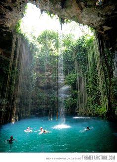 .cool water fall/pool