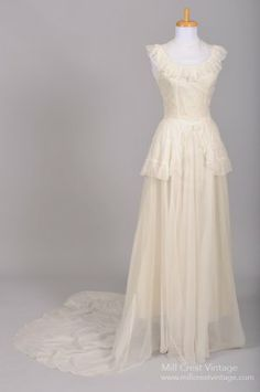 1940 Eyelet Organdy Vintage Wedding Gown,  Medium: organdy, jeweled neckline, chiffon