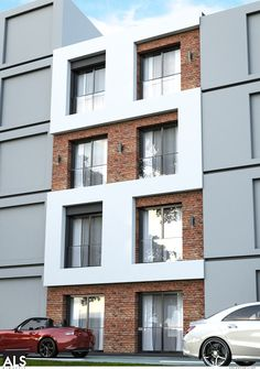Apartment house facade modern 17 New Ideas Brick Architecture, Concept Architecture, Residential Architecture, Modern Exterior, Interior Exterior, Exterior Design, Brick Design, Facade Design, Brick Facade