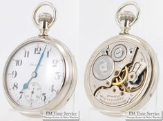 """Five vintage items, for gents and ladies, have been added to eBay today: one wrist watch, a ribbon-style pocket watch chain, an antique coin, and two pocket watches, including this triple-signed Hamilton grade 974 timepiece, with a 16-Size, 17-Jewel movement, in a silver-toned glass-back display case.  To browse these newly-listed items, visit our """"Auctions"""" page here... http://stores.ebay.com/PM-Time-Service/_i.html?LH_Auction=1"""