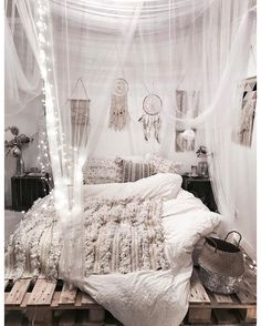All White Bohemian Bedroom