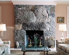 Granite Fireplace with Soapstone Surround | William McHenry Architect | Northeast Harbor, Maine