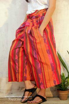 Batik Amarillis's Wrap Palazzo AVAILABLE at Batik Amarillis webstore www.batikamarillis-shop.com  it's Freesize ,unique ,comfy & easy to wear capri palazzo trousers wrapped & Tied on The front,twin side deep front pockets,back pocket,elastic little band to adjust your size,wear it high or low on The hips ,either way is cool to wear at any occasions!