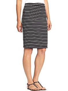 Women's Jersey Pencil Skirts   Old Navy - I got this skirt in gray and can't decide if I could pull off the b/w stripe...