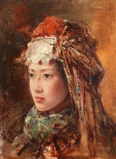 """Tang Wei-Min — Silk Road' Series,  c. 2000-2010. Painting: Oil on canvas. Also see Tajik Bride by Jin Shangyi """"Tang Wei Min [唐伟民] was born in 1971 in Hunan, China, where he went on to study oil..."""