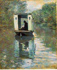 Le bateau atelier (1876), de Claude Monet.
