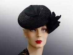0e1b63d0 Women's Vintage Hat Percher Black Straw Tilt - Wrapped Ribbon Trim and Bows  - Film Noir 1940's