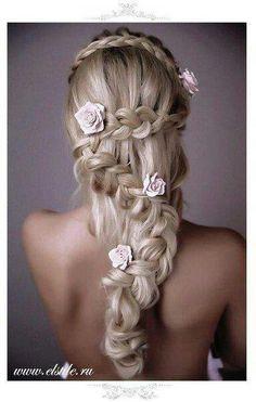 Beautiful... Cool latter braid, if only I had the length. #flowersinhair #braid #frenchbraid #rose #hair #hairsyle #followme #needfollowers #