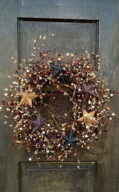 Patriotic Wreath with Barn Stars, Primitive Americana Wreath, Holiday of July Wreath, Country Wreath, Rustic Decor Patriotic Wreath, 4th Of July Wreath, Christmas Crafts, Christmas Decorations, Etsy Christmas, Xmas, Christmas Porch, Country Wreaths, Berry Wreath