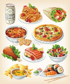 Set of traditional food icons. — Stock Illustration #23090210