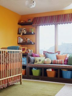Kid's Room Savers  Maximize storage in a kid's bedroom by using every space available. Here, shallow shelves add plenty of storage to the small wall space around the windows. A window seat provides a cozy reading spot; adding cubbies below increases the room's storage potential. Fill the cubbies with bins to create a colorful and tidy corral for toys.  I want to do this in grown up version
