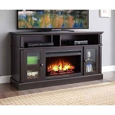 electric fireplace heater tv stand mantel center media wood flame