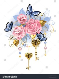 [ Antique Golden Keys With Pink Roses, Golden Leaves And Blue Butterflies On A White Background. Rose Quartz And Serenity. Free Vector Images, Vector Free, Angel Vector, Feather Vector, Nature Vector, Key Tattoos, Motif Floral, Blue Butterfly, Flower Wallpaper