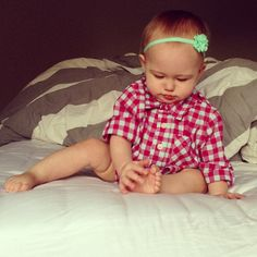 button up. 10 months old. baby. girl.