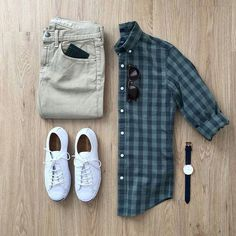 Men Casual Shirt Outfit 🖤 Very Attractive Casual Outfit Grid, Outfits Casual, Mode Outfits, Sport Outfits, Casual Wear, Men Casual, Fashion Outfits, Fashion Clothes, Casual Shirts, Fashion Mode